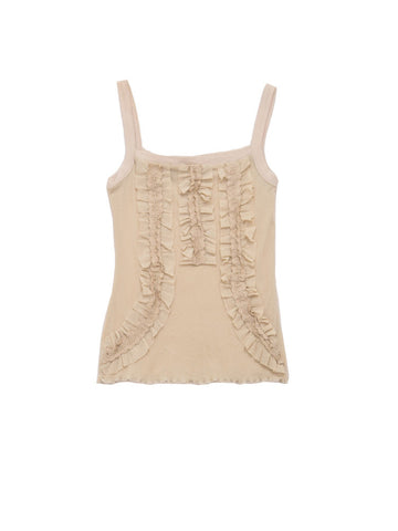 T007B 90S VINTAGE BISOU BISOU Nude Ruffled Cami