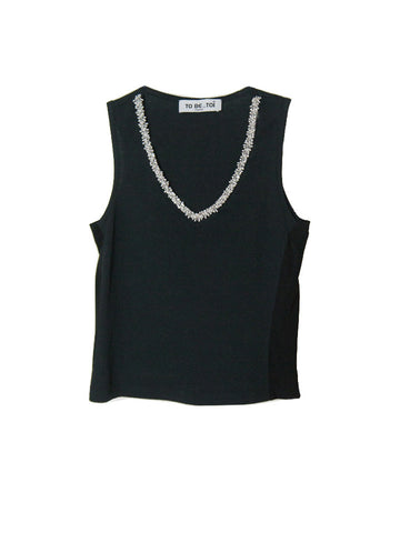 T039 90S RHINESTONES NECKLACE STRETCH TANK