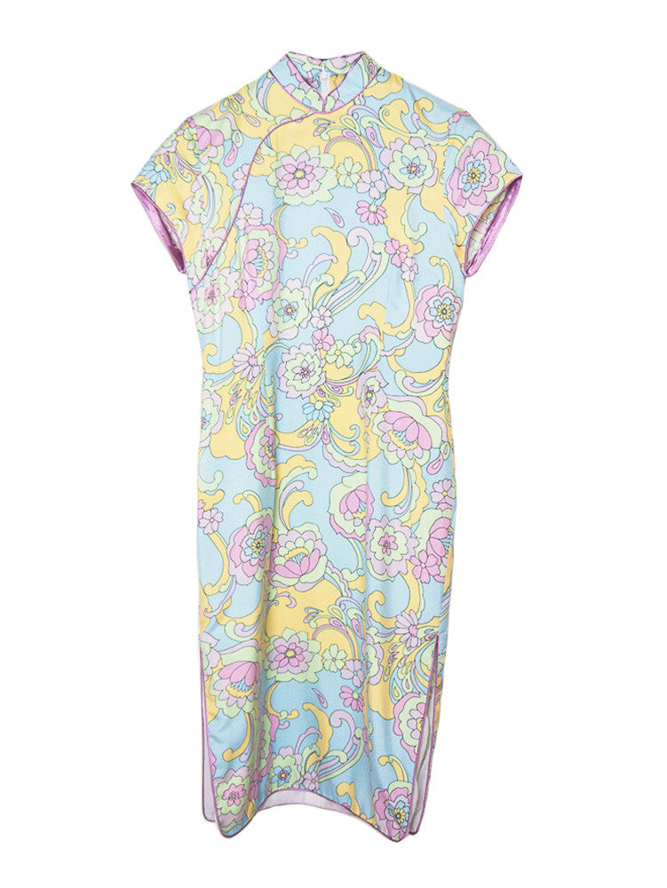 D031 60S PASTEL ASIAN COLLAR DRESS