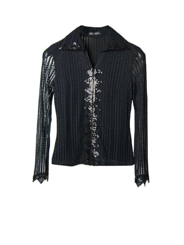SB042 90s Sheer Sequin Vegas Nights Blouse