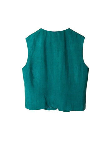 SB044 80s Green Matte Silk Shift/Vest