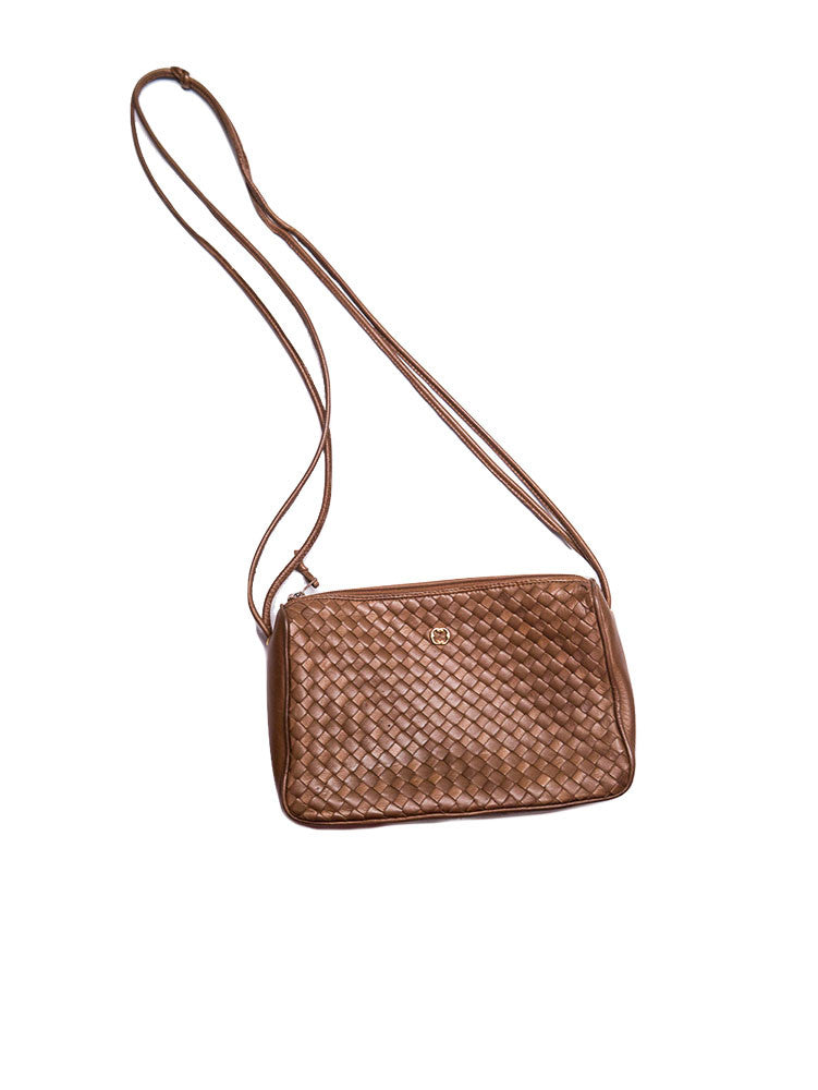 A009 VINTAGE Cosci Leather Woven Cross-Body Bag