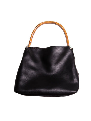 A010 Vintage Leather Bucket Bag with Bamboo Handle