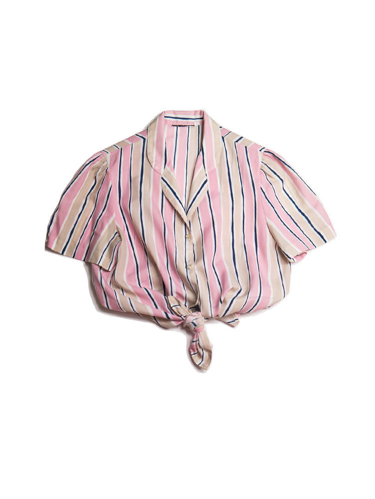 SB048 80s Dreamsicle Pinstripe Diner Blouse