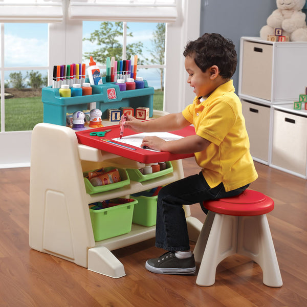 Flip & Doodle Easel Desk with Stool™ - Escritorio y Caballete 2-en-1 con Banco