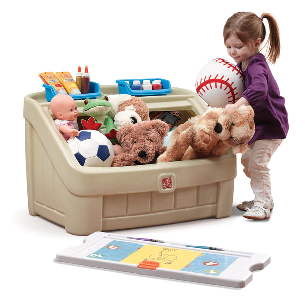 2-in-1 Toy Box & Art Lid Tan - Juguetero 2-en-1