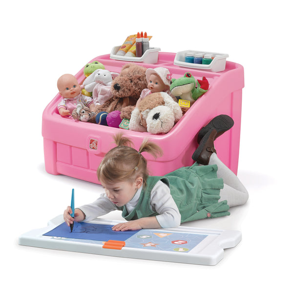 2-in-1 Toy Box & Art Lid Pink - Juguetero & Tapa Creativa Rosa