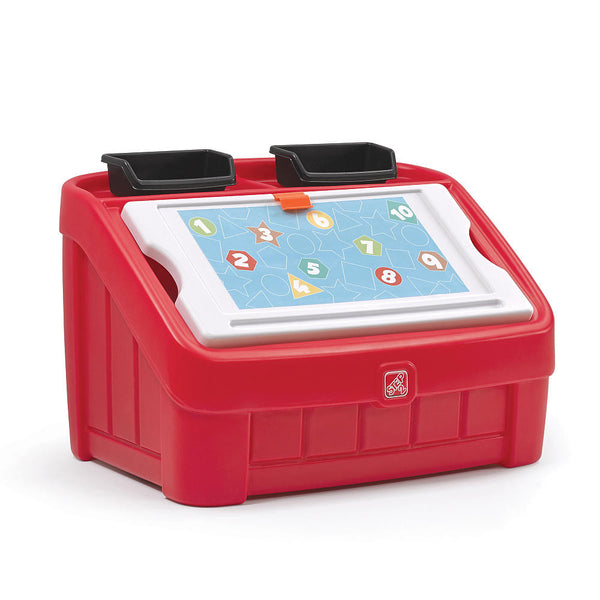 2-in-1 Toy Box & Art Lid Red - Juguetero & Tapa Creativa Rojo