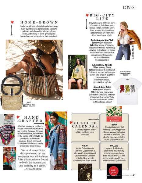 The full article that A Select Few was featured on. This comes from the June 2020 of Vogue India magazne