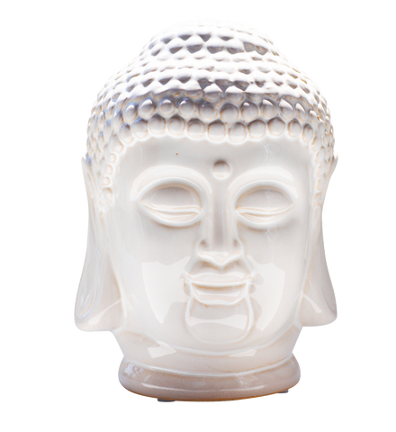 "Ceramic Buddha Head 8.5""h white"
