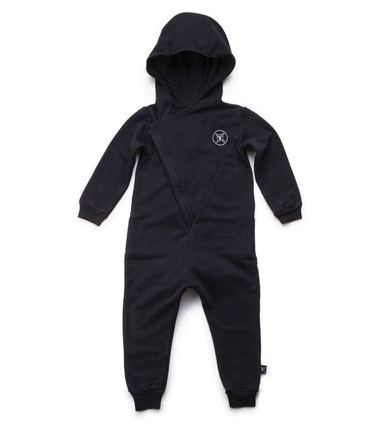 hooded overall / black