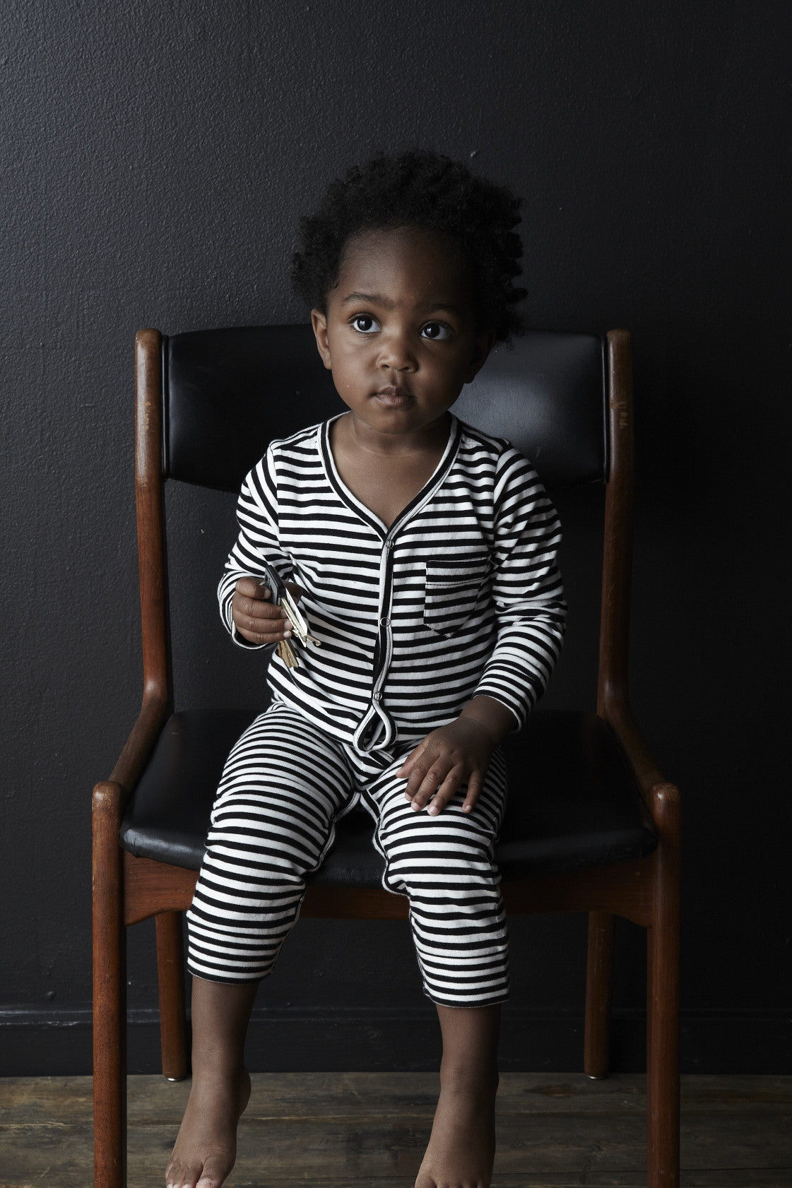 baby's organic thermal union suit/ striped