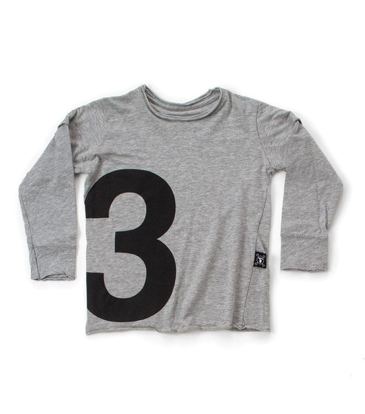 numbered t-shirt/ heather grey