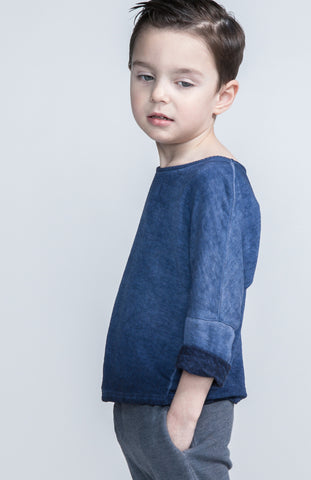 denim wash long sleeve tee / indigo [product type] [product vendor]- four the boys