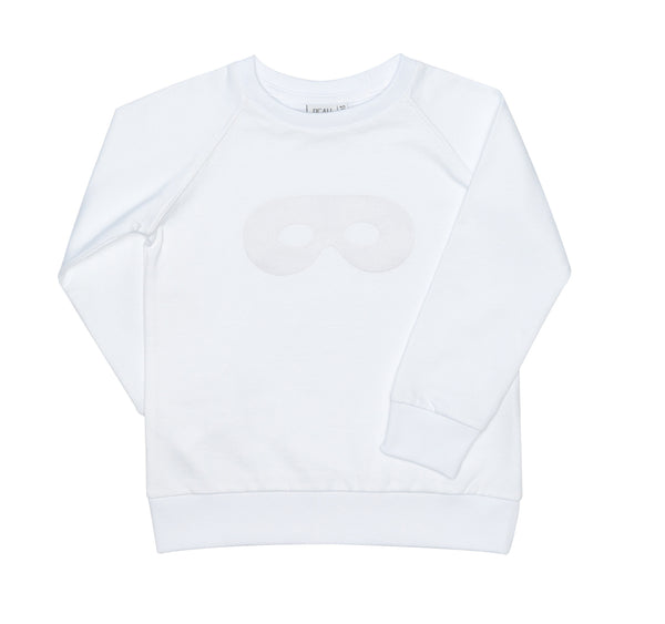 Raglan Jumper White with Flock Signature Hero Mask is a Beau LOves... unique design which is made to be mixed and matched