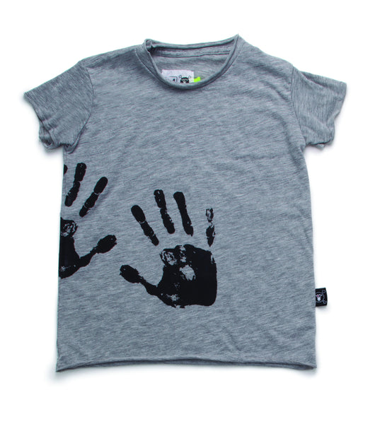 HAND PRINT TOP/ heather grey
