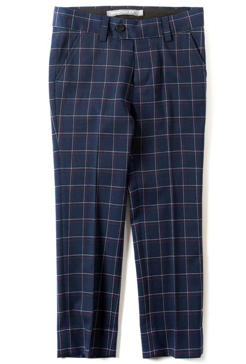 mod suit pants/ navy windowpane