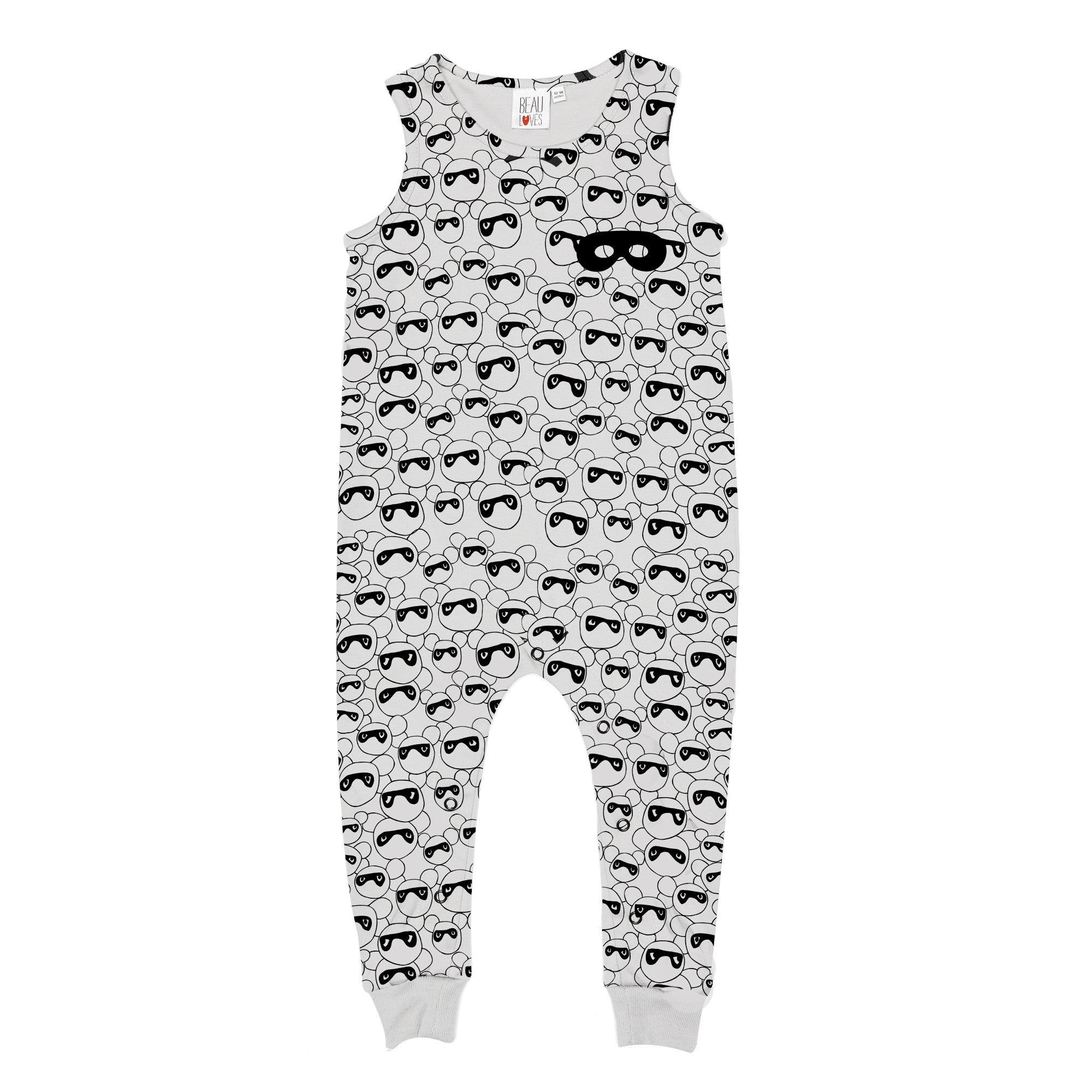 masked bears jumpsuit / dove grey [product type] [product vendor]- four the boys
