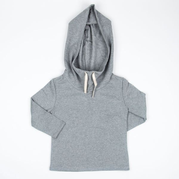 wide neck hooded sweater/ grey