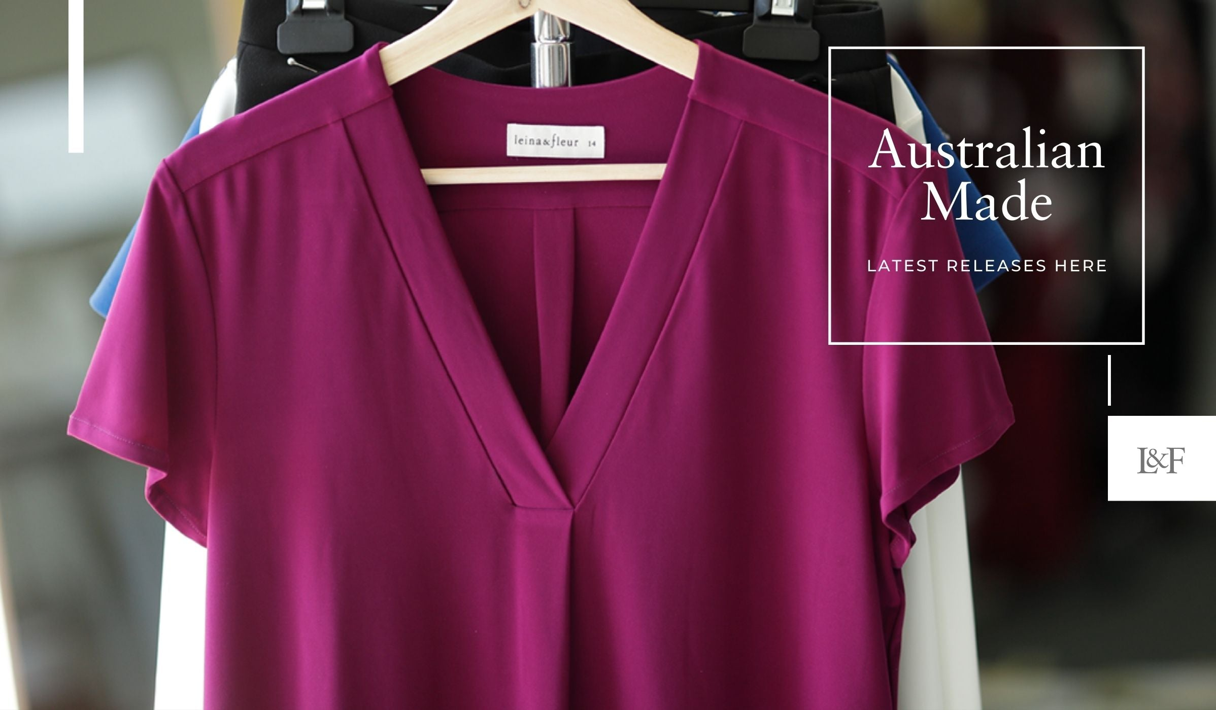 Australian Made Products with Magenta Shirt and Australian Designed Label