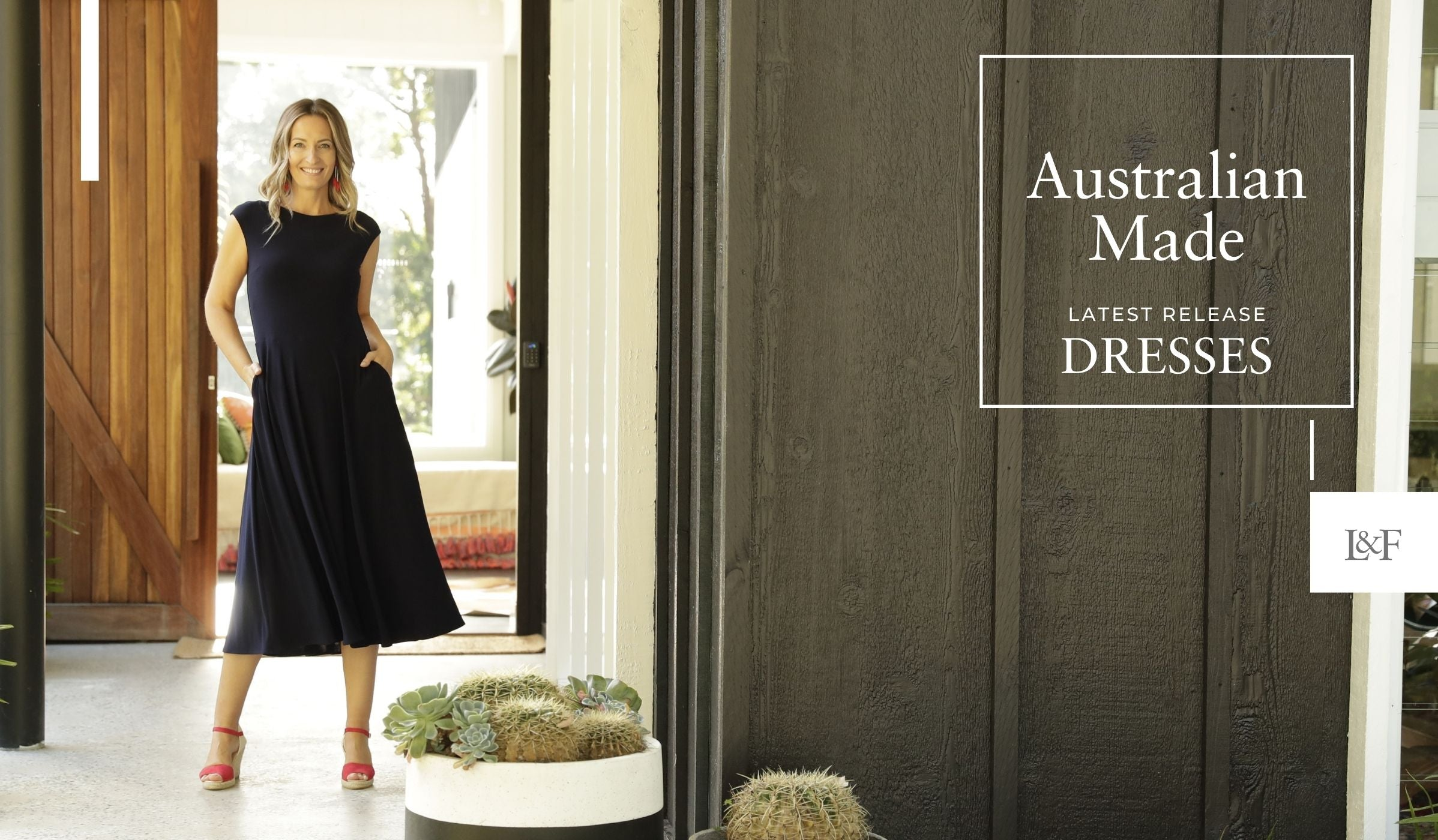 Australian Made Dresses latest releases with Emma wearing a size 10 black dress