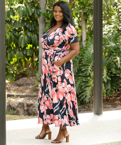floral wrap dress with pockets and short sleeves