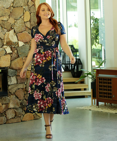 floral printed wrap dress with midi length skirt and pockets