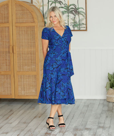 blue floral printed wrap dress with skirt ruffle