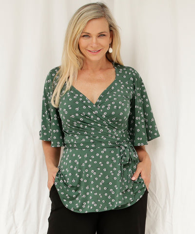 floral wrap top with full volume flutter sleeves and flattering peplum
