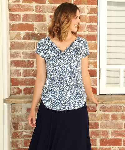 comfortable summer top with soft cowl neck-line and tailored shape in blue and white print