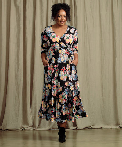 floral maxi wrap dress with pockets and ruffle