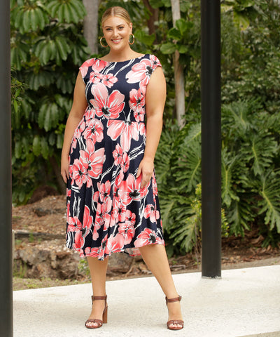 reversible floral printed wrap dress with sweetheart and boatneck options