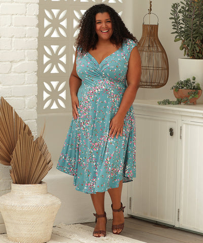 summer floral reversible wrap dress with boatneck option