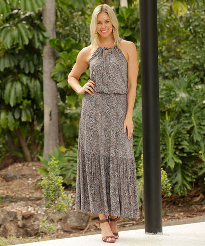 halter-neck summer dress with skirt ruffle in a micro animal print