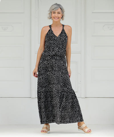 halter-neck summer dress with polka dots