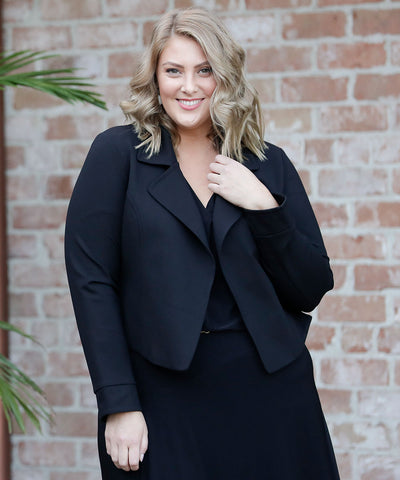 long sleeve tailored cropped trench jacket in black