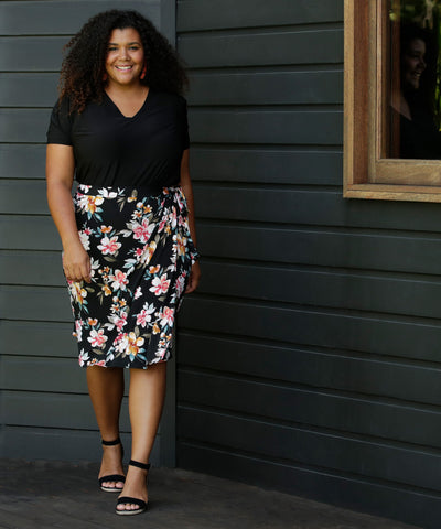 floral printed wrap skirt for work and weekend