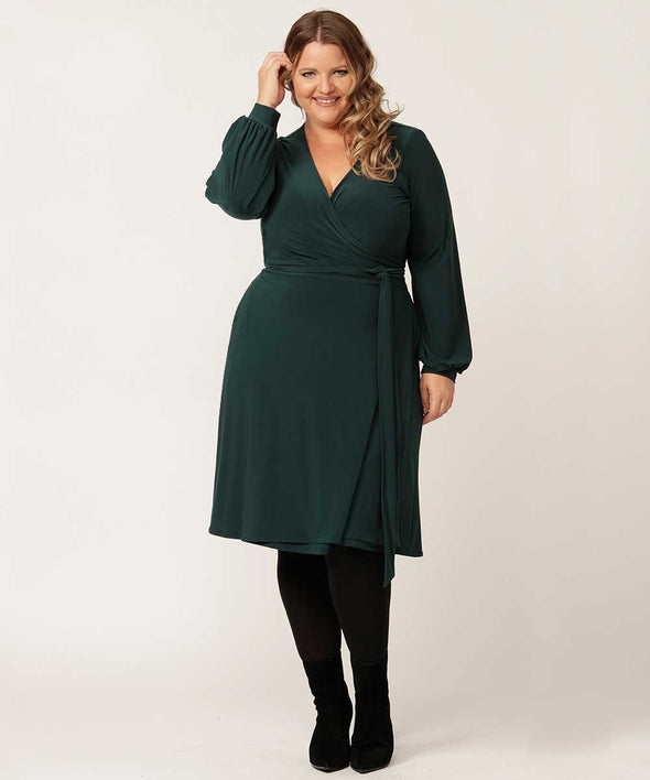 Gwyneth wrap dress in emerald