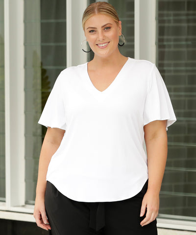 comfortable white summer top with flutter sleeves is soft bamboo fabric