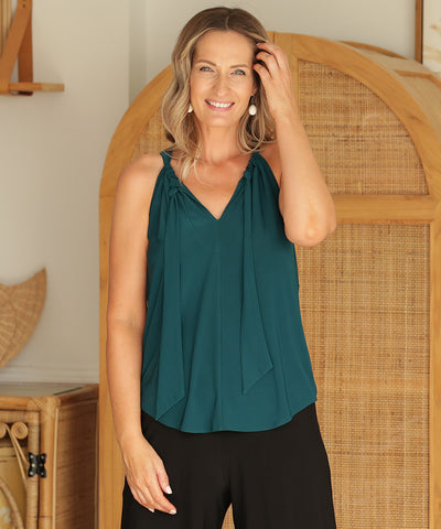 halter-neck summer top with neck tie in dark-teal slinky fabric