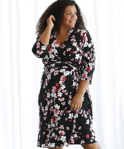 floral printed wrap dress with modern tailored collar detail