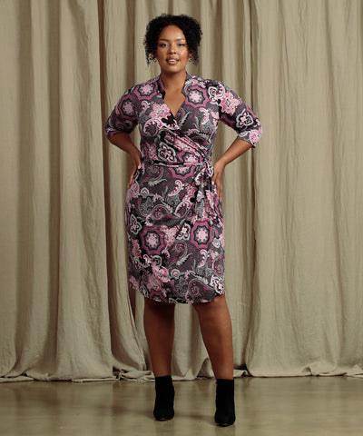paisley printed wrap dress with collar detail