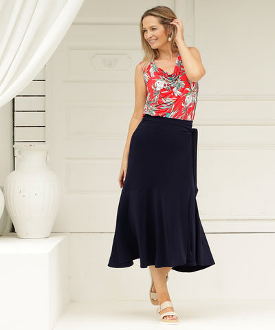 navy wrap skirt with extended waist ties and deep ruffle.