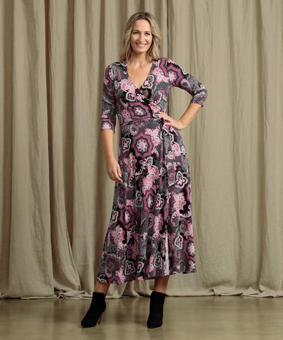 paisley printed maxi wrap dress with pockets