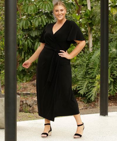 black wrap dress with flutters sleeves