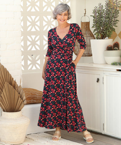 floral printed maxi wrap dress with 3/4 length sleeves and pockets