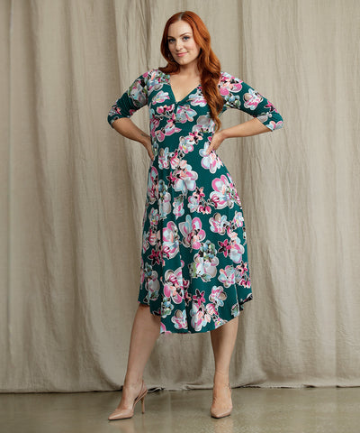 floral printed empire line dress with 3/4 sleeves and twist front bodice