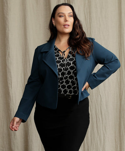 long sleeve tailored blue jacket with wide lapel