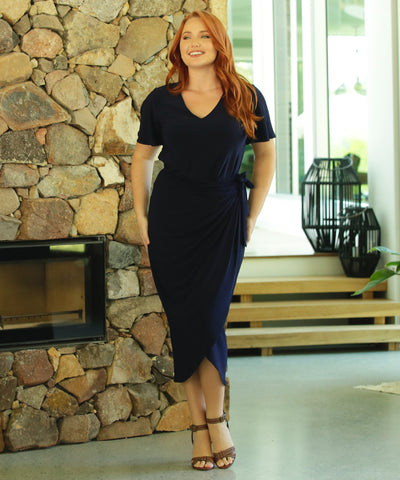 navy wrap skirt with flattering front tucks and extended waist ties