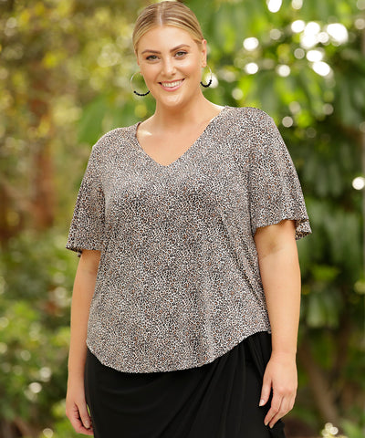 animal print top with flutter sleeve in slinky fabric